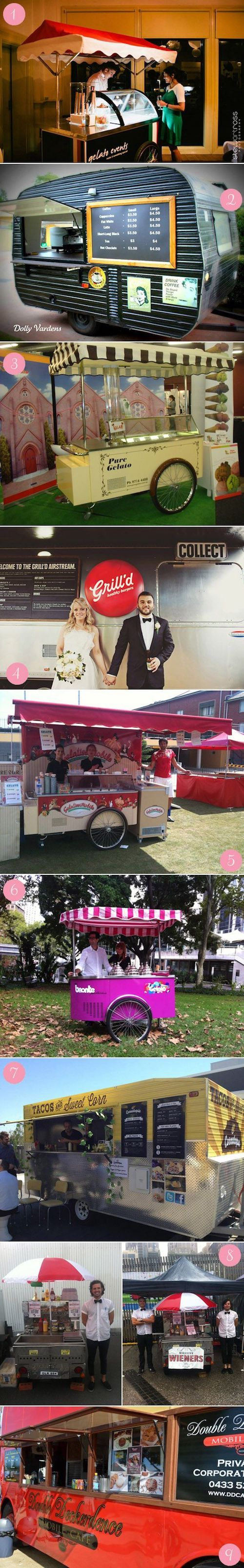 Food truck and cart ideas for weddings. Delicious!