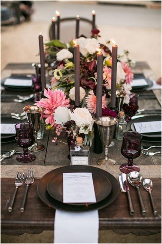 Ideas de centro de revista para la decoración de mesas para bodas.