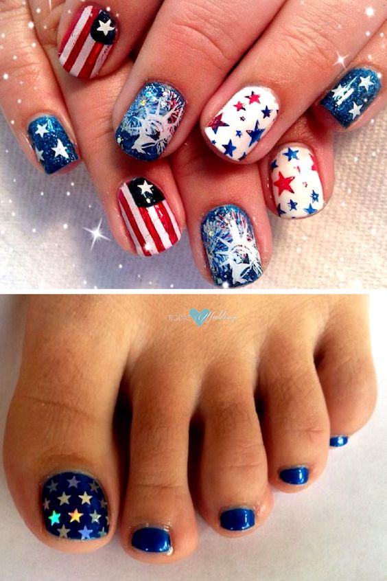 Mani pedi nail designs for a 4th of July wedding.