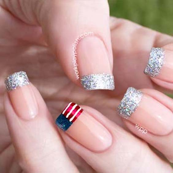 Love these French nails with an all-American accent french tip. Manicure ideas to die for.