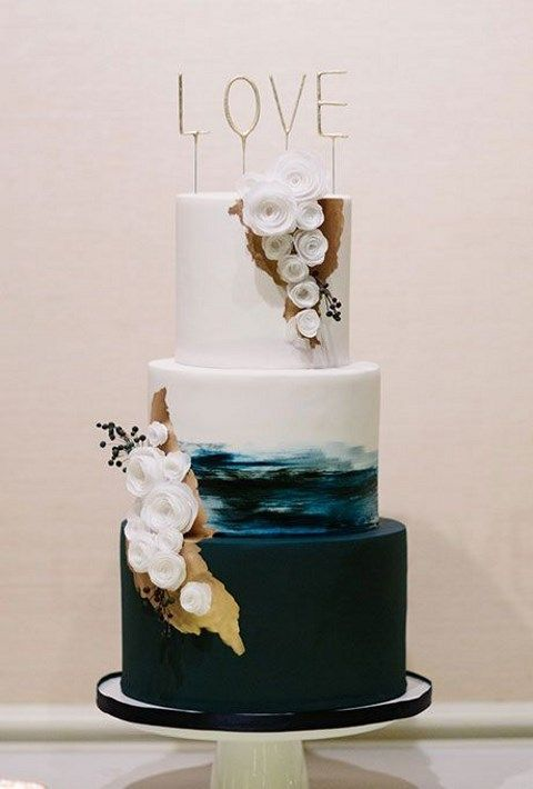 Navy blue beach glam wedding cake.