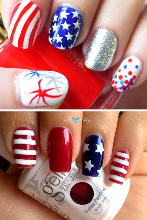 Stars and stripes nail art.