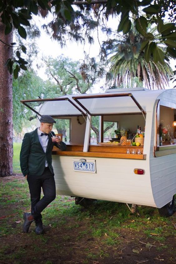 Vintage boho chic wedding. Caravan pub.