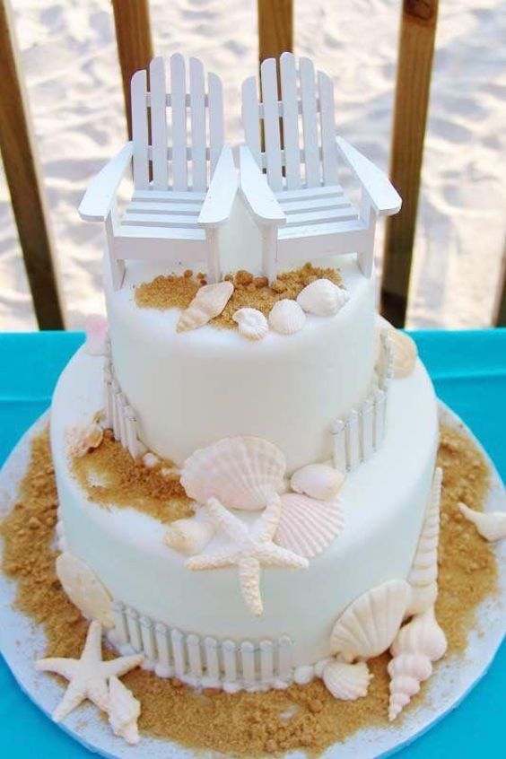 We could not call this a beach themed wedding cake collection without showing you the classic Adirondack chairs!