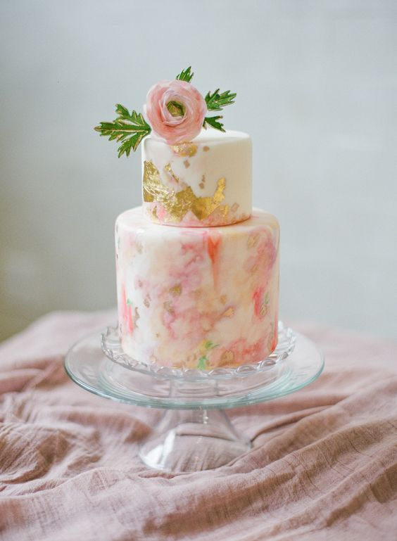 Beach wedding cakes in soft pink hues and gold by Melissa's Fine Pastries. Photography: Catherine Guidry.