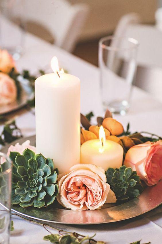 Increíbles centros de mesa con suculentas y velas que puedes copiar ya mismo.