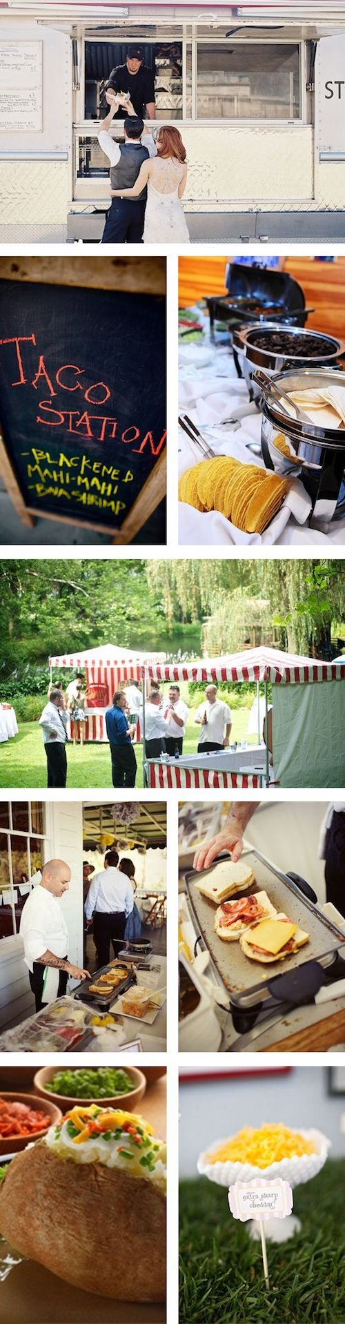 Creative food stations are a multiple source of enjoyment. Love a food truck wedding.