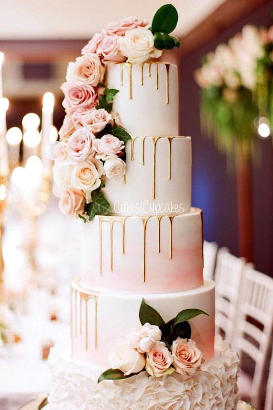 Unique, non-traditional cakes became more and more popular for weddings. Taking the internet by storm, drip wedding cakes are one of the hottest trends right now.