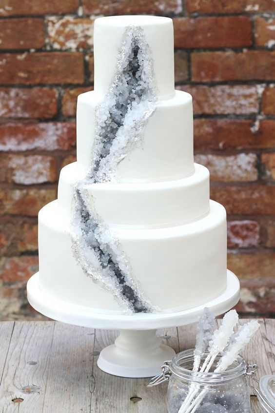 If you prefer a more muted version of the geode cake, how about rock candy crystals in white and grey?