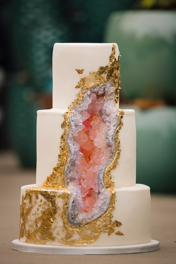 We can stare at this geode cake for hours. Photographer: Claire Marika Photography.