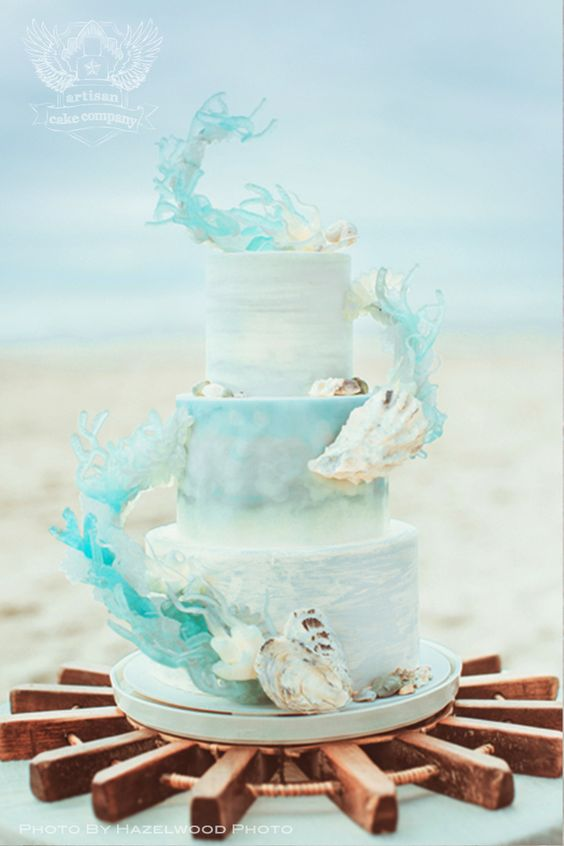 Beach Theme Wedding Cake And Cupcakes