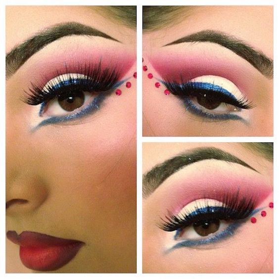 Fuchsia crystals accent; red, white and blue eye shadow inspired by the 4th of July.