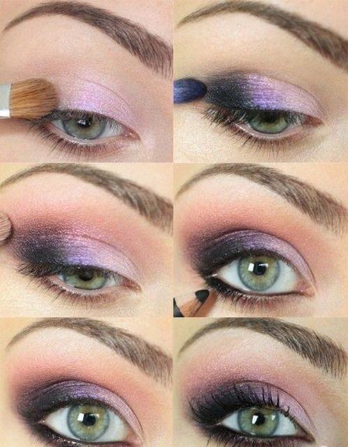 Tutorial para maquillaje de ojos ahumados en lilas para el día.