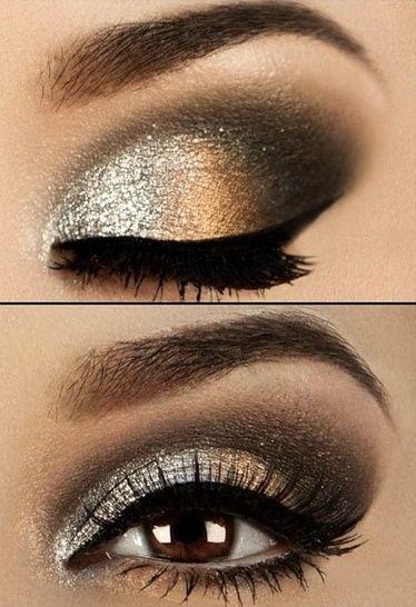 Para un maquillaje de ojos ahumados para la noche, divide el párpado móvil en tres partes y difumina.