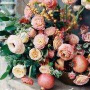 Una paleta de colores preciosa vintage boho con granadas.