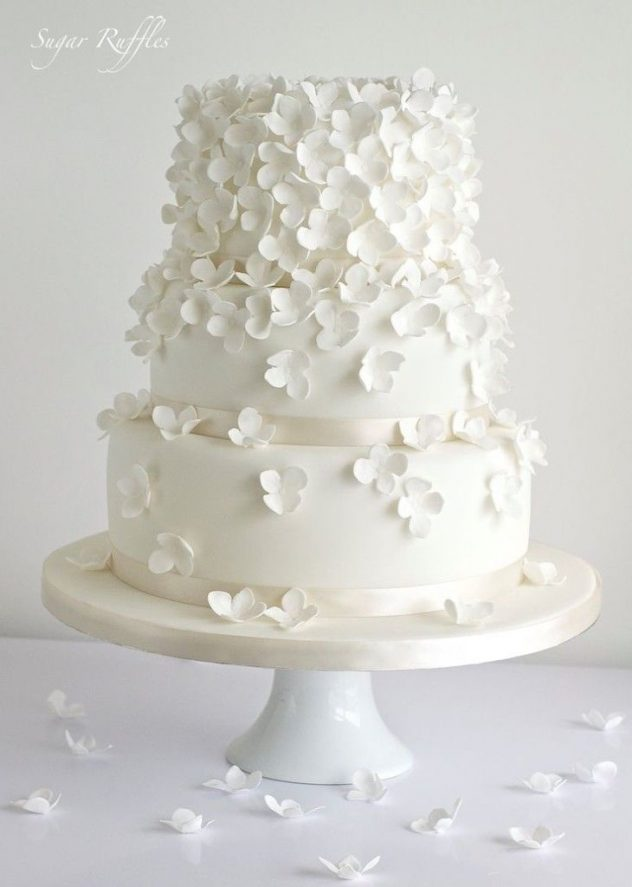 Another one of the latest wedding cake trends are rosettes, sugar flowers and dragees. Delicate white on white wedding cake with textured white petals, and yes, they are edible!