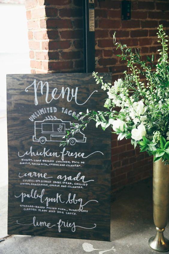 Wedding menu sign. Photography: Ashley Kickliter.