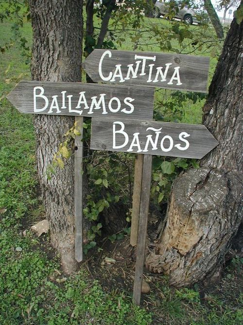 Point the way to your wedding...reception...restrooms in Spanish.
