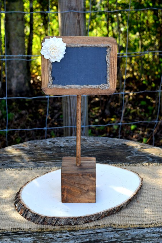 Chalkboard Sign Rustic Wedding Decor by CountryBarnBabe.
