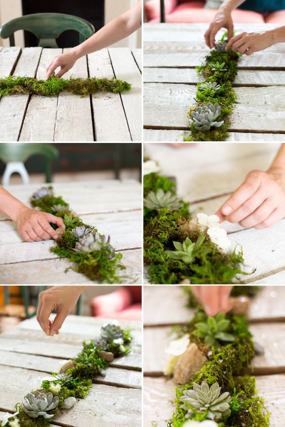 Moss table runner with loose succulents, mini terrariums and mica flakes.