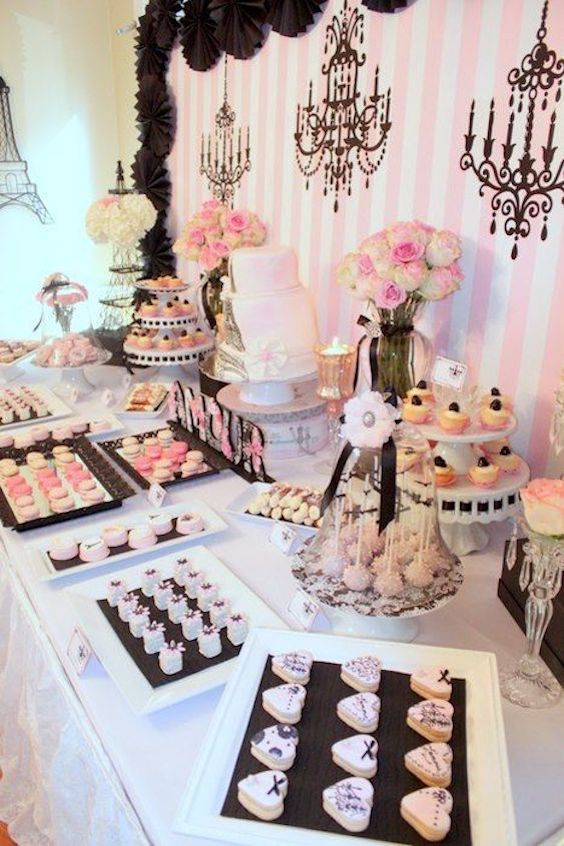 Vintage Parisian dessert table ideas. The detail on the cookies is adorable.