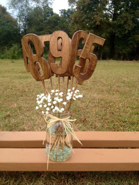 Shabby chic wooden table numbers by Country Barn Babe.