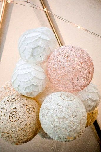 Glue doilies to a balloon. Leave the glue to try for 24 hours and then pop the balloon.