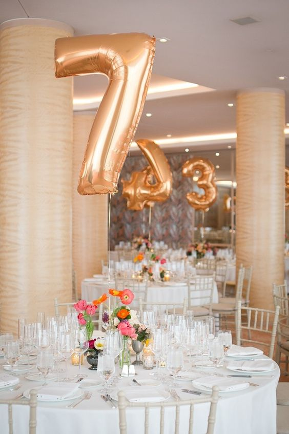 Your favorite helium balloons as table numbers. Rest assured that nobody will miss their table.