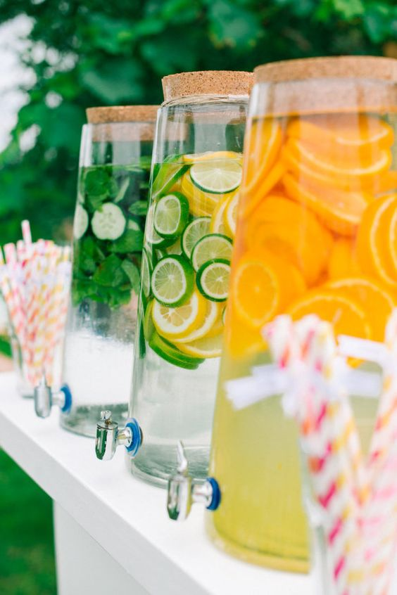 Remember to offer some beverages with your dessert bar. Uber chic drink station for an outdoor wedding.