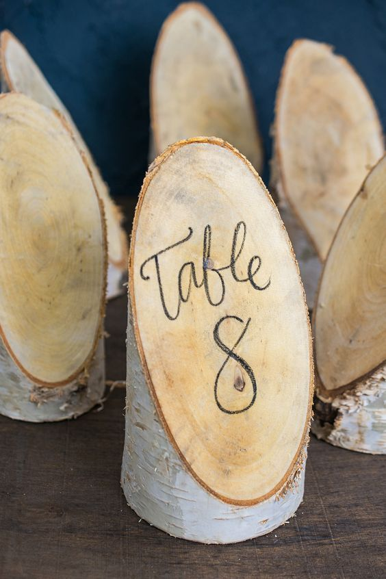 An angle cut piece of natural birch makes a great table number and more.