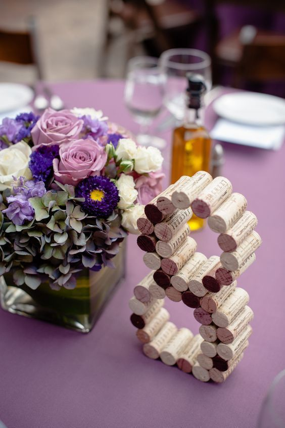 Dare to make cork table numbers for your vineyard wedding.