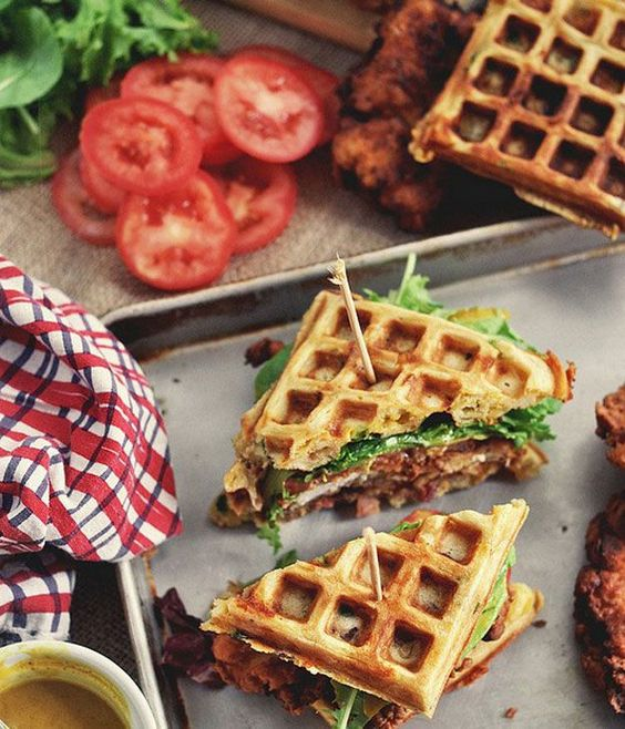 Food truck weddings can be lots of fun with delicious and naughty recipes like this chicken and waffle sandwiches. Yum!