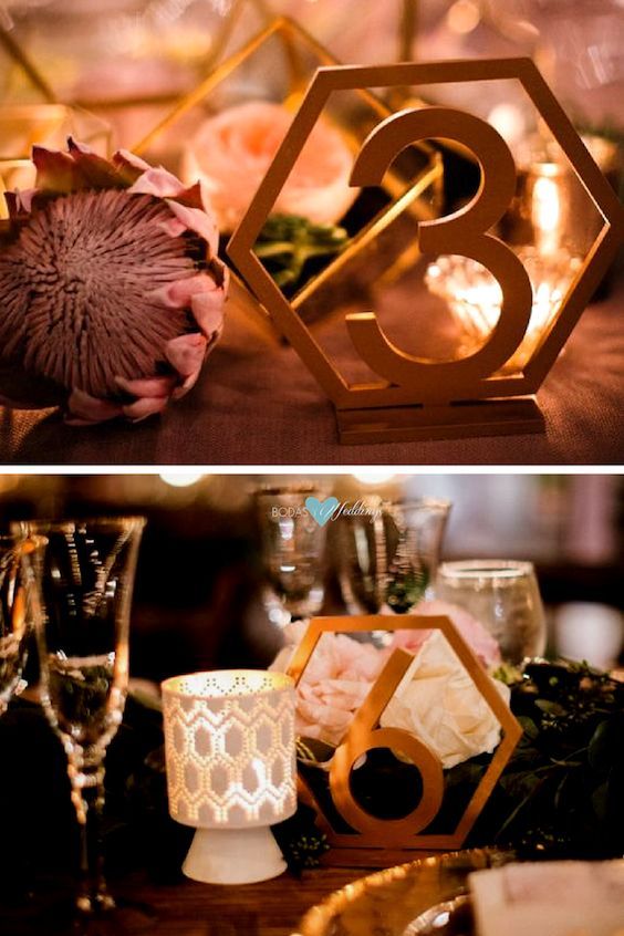 These hexagon table numbers in wood or painted or glittered in your preferred colors are a unique choice for your wedding table decor.