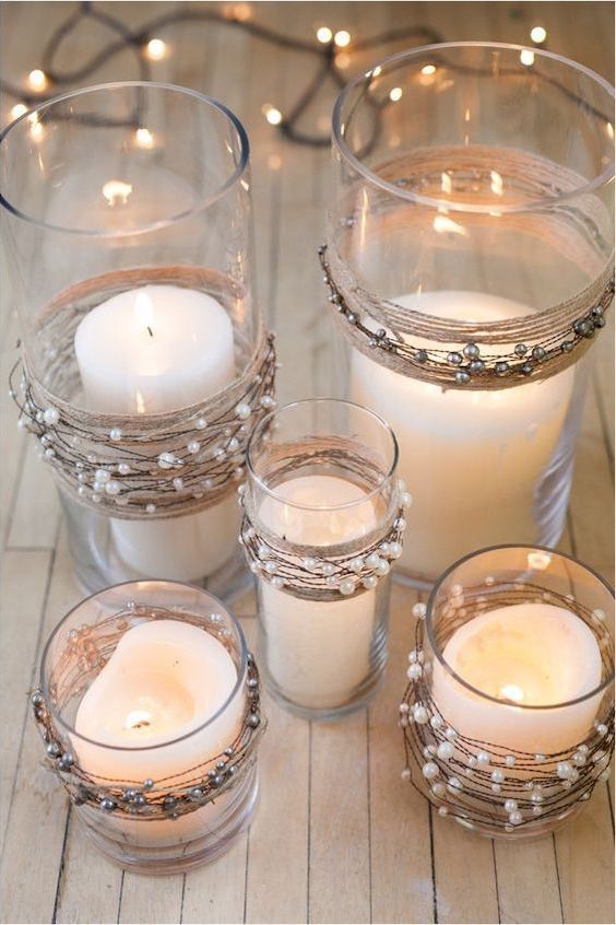Adorn these candleholders with twine for a glam look for a very inexpensive centerpiece.