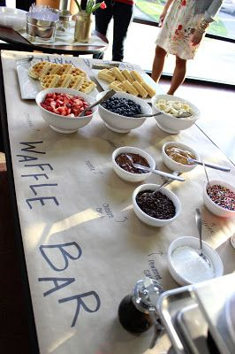 Interactive wedding dessert table: a waffle bar!