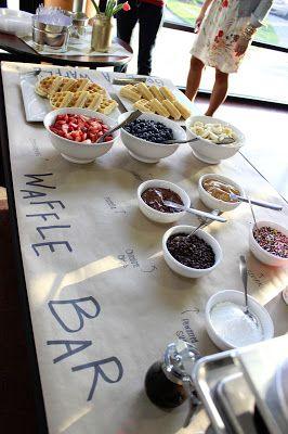 Interactive wedding dessert table: a waffle bar!