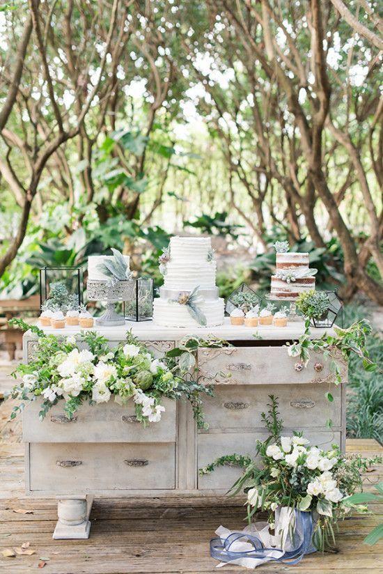 Cobalt blue and sage green intimate garden wedding.