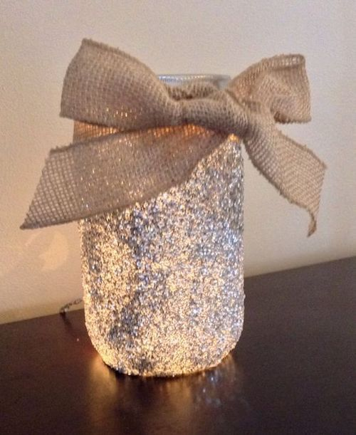 Glitter lighted mason jar by DazzleMePink