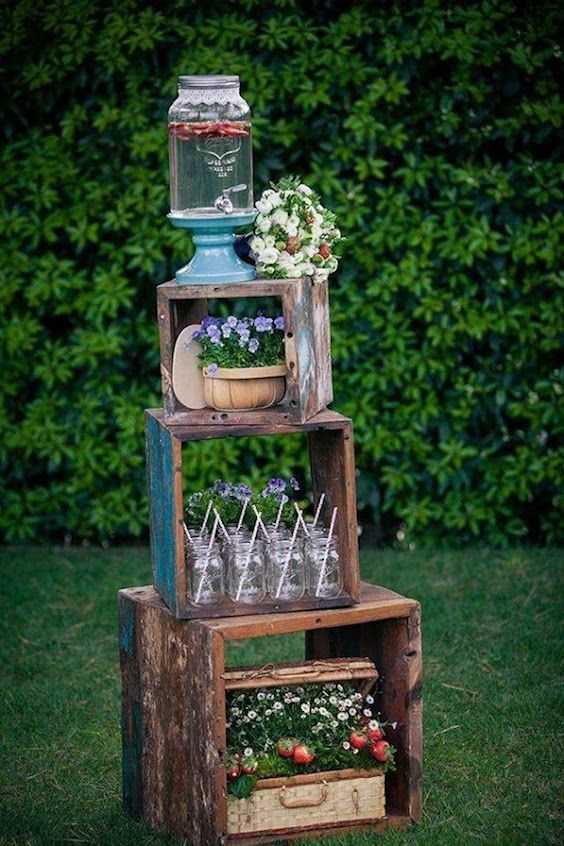 A little creativity and imagination and you have a mason jar station.