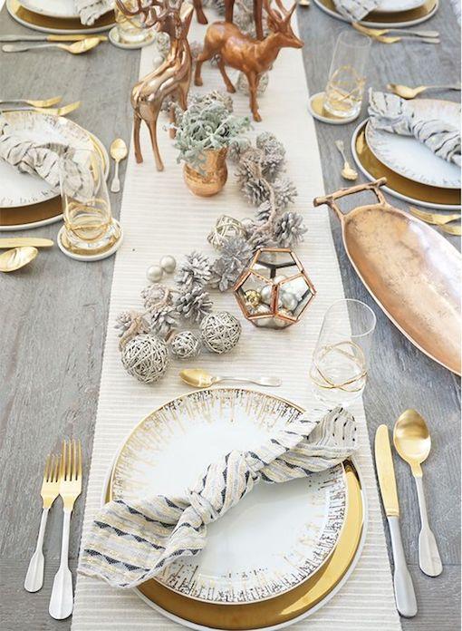 Glamurosa mesa para una boda íntima, rústica e invernal.