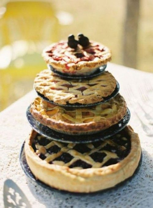 Original money saving wedding ideas: How about a non-traditional wedding cake made of pies for an outdoor reception?
