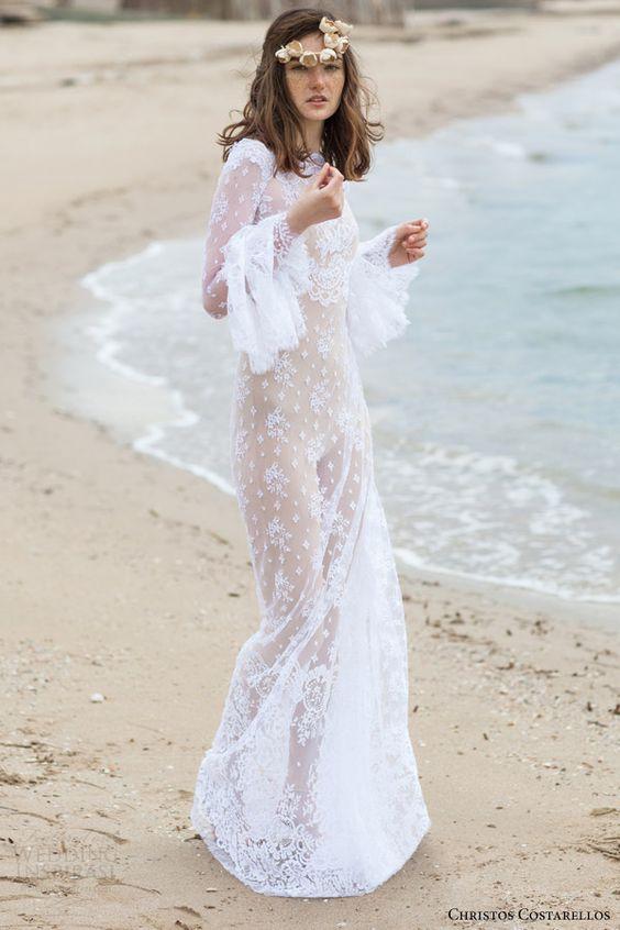 Christos Costarellos para novias boho que celebran en la playa.