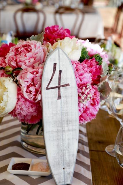 Surfboard couples can add a personalized table number like this one from Etsy.