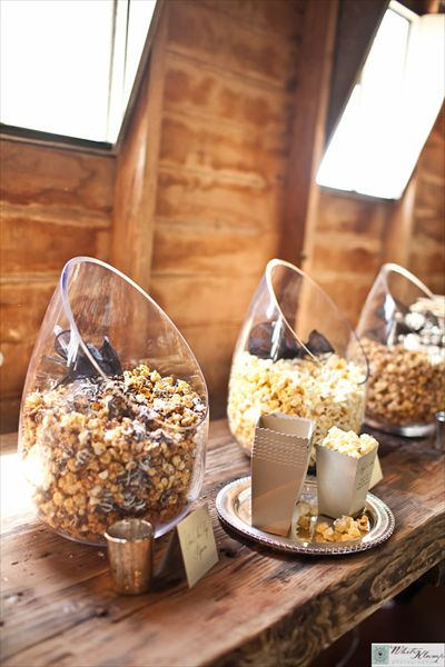 Popcorn bar! Awesome addition to a wedding reception and great for adults and children!