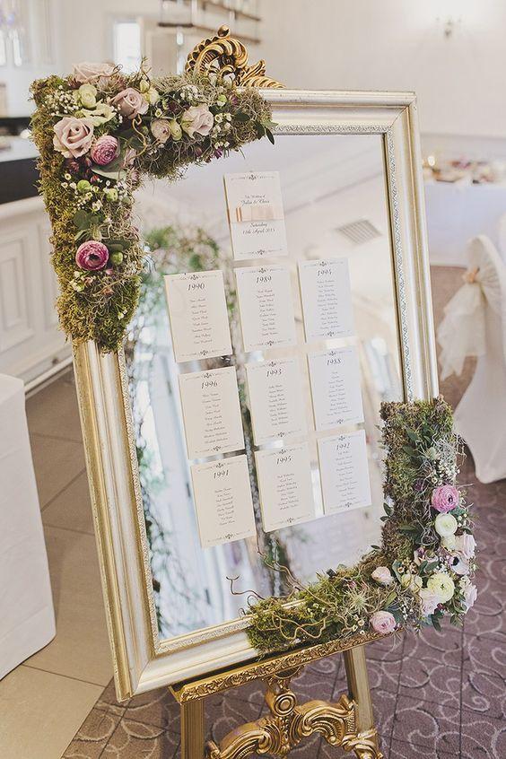Recepción de bodas inspirada en Twilight, con un espejo con musgo y flores para la organización de mesas. tracy weston photography.