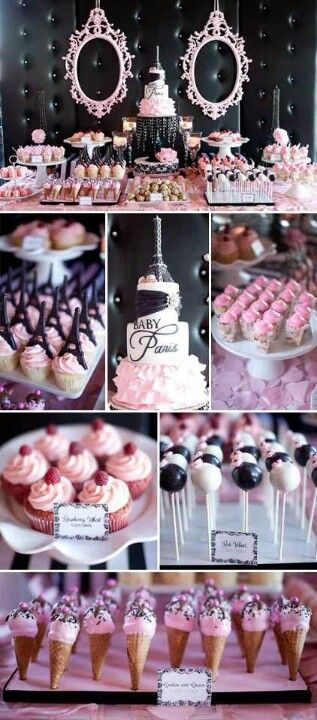 Parisian themed weddings can incorporate this romantic and sweet dessert table idea.