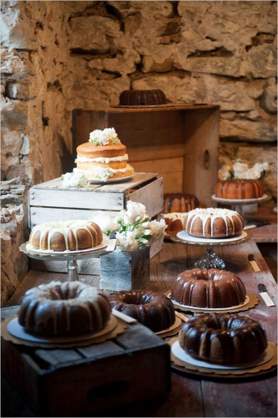Rustic chic bundt cake dessert table.