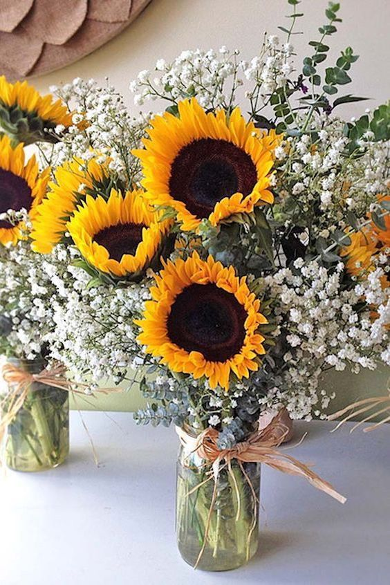 Save on your bridal bouquet - Delightfully bright sunflower and baby's breath bouquet.