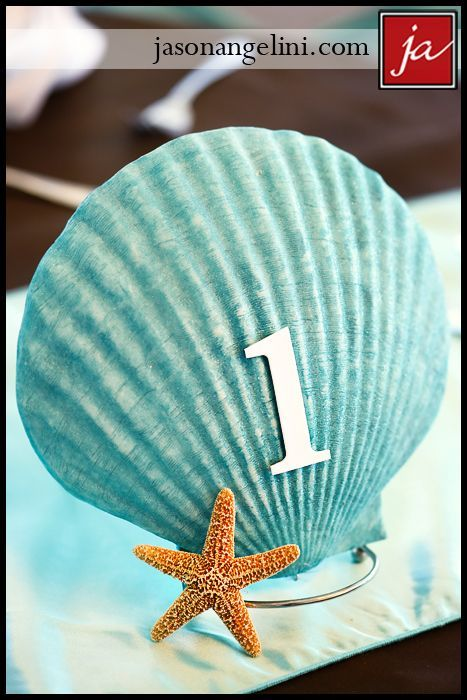 Seashell table number. Photographer: jason angelini photography.
