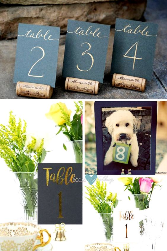 Simple table numbers. Mini Wedding Table Numbers by SouthernCalligraphy. Gold Foil Table Numbers by NashvillePaperCo. Unique ways to include your pet on your wedding day.